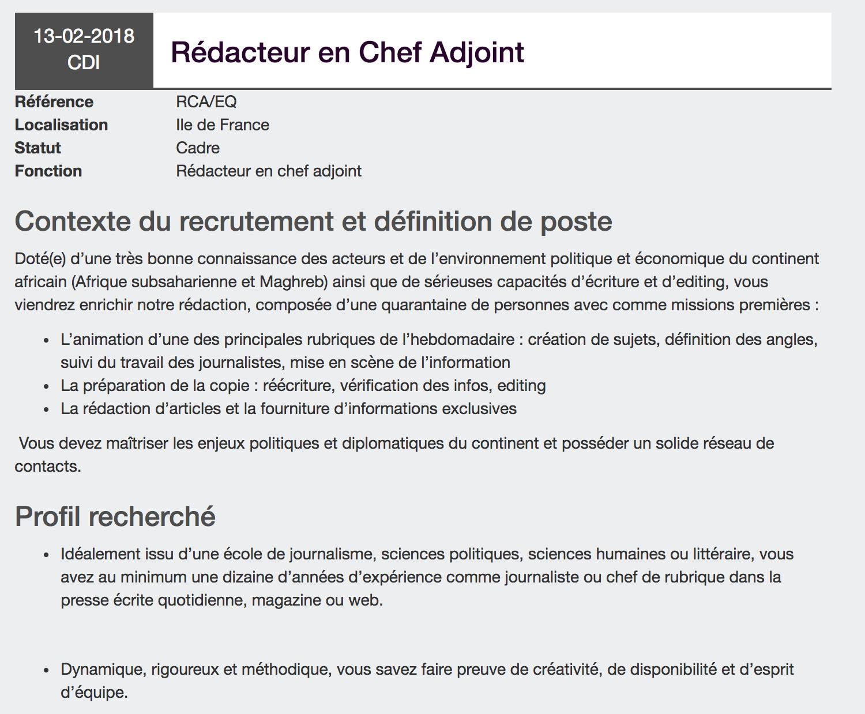Offres D Emplois Journalistes Du 12 02 18 Au 18 02 18 Emeric Legros